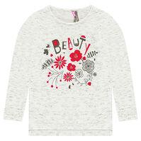 Tee-shirt manches longues en jersey jaspé avec fleurs pailletées