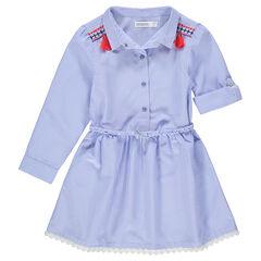 Robe chemise à fines rayures avec ceinture tressée