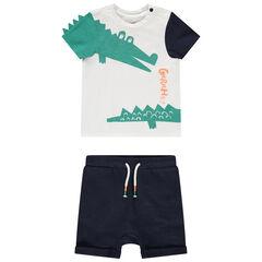 Ensemble avec t-shirt print crocodile et short en coton bio