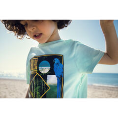 T-shirt manches courtes bleu à motif esprit jungle , Orchestra