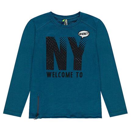 "Junior - Tee-shirt manches longues en jersey avec print ""NY"" et zip"