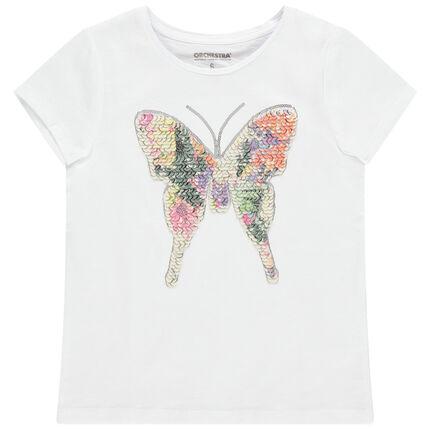 T-shirt manches courtes en coton avec papillon en sequins magiques