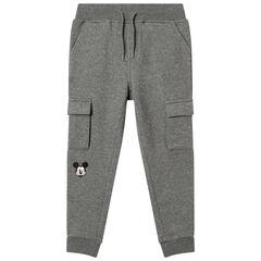 Pantalon de jogging chiné à poches et broderie Mickey Disney