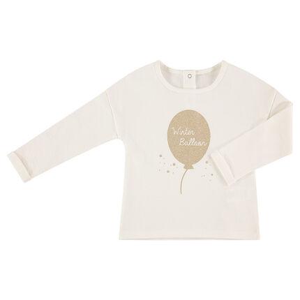 Tee-shirt manches longues en jersey avec ballon pailleté printé