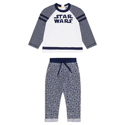 Jogging en molleton avec inscription brodée Star Wars™ et pantalon imprimé all-over