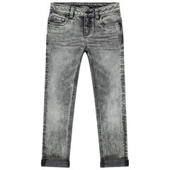 Jean effet used gris coupe skinny