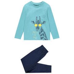 Pyjama long en coton bio print girafe