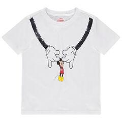 T-shirt manches courtes en coton bio print Mickey et sequins magiques