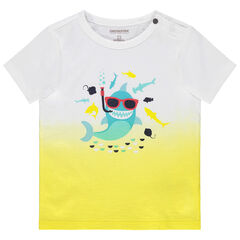 T-shirt manches courtes effet tie and dye print requin