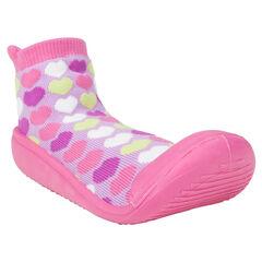 Chaussons chaussettes imprimés coeurs et semelle en gomme