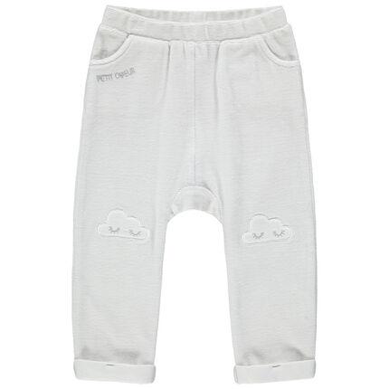 Pantalon de jogging en molleton avec broderies sur les genoux