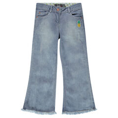 Junior - Jeans bootcut avec franges et patch ananas