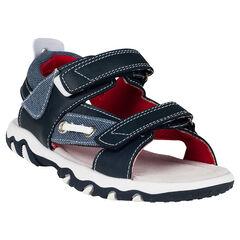 Nu-pieds en simili cuir avec empiècements effet jeans