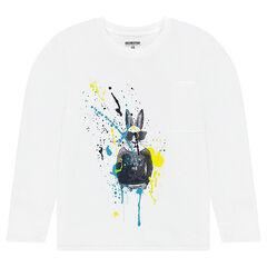 Junior - Tee-shirt manches longues en jersey avec lapin et effet de tâches printés