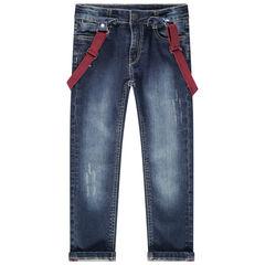 Jeans effet used avec bretelles élastiquées amovibles