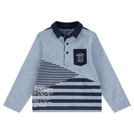 Polo manches longues en jersey slub avec poche et texte printé