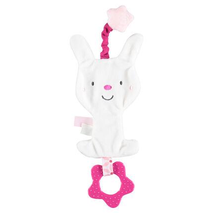 Doudou lapin en velours avec anneau de dentition