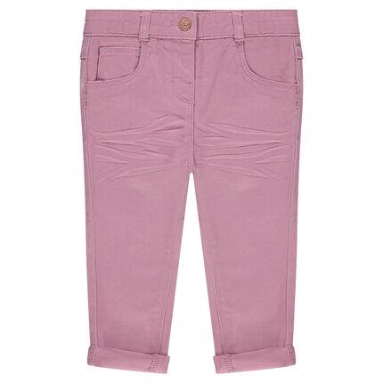 Pantalon slim en twill effet crinkle