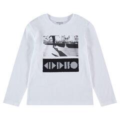 Junior - Tee-shirt manches longues en jersey avec motif en sequins magiques