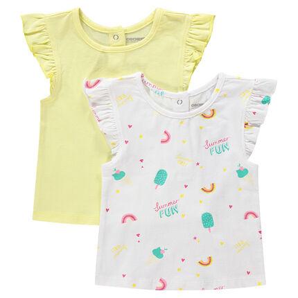 Lot de 2 tee-shirt manches courtes volantées uni/imprimé all-over