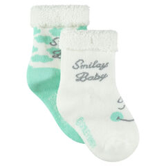 Lot de 2 paires de chaussettes assorties motif ©Smiley Baby