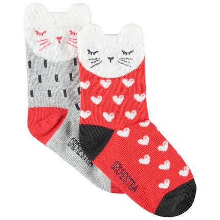 Lot de 2 paires de chaussettes motif chat en jacquard