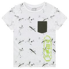 Tee-shirt manches courtes avec imprimé effet tâches et skate printé
