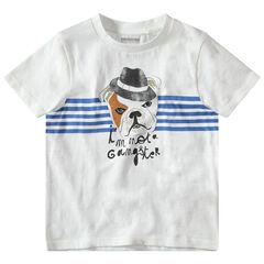 T-shirt manches courtes uni avec motif printé