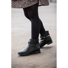 Bottines noires effet cuir avec tresse et noeud à la cheville