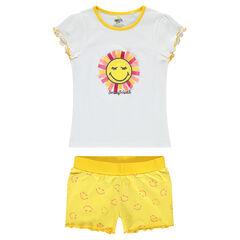 Pyjama en jersey avec soleil en relief et short imprimé ©Smiley all-over