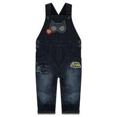 Salopette en jeans effet used avec prints BATMAN