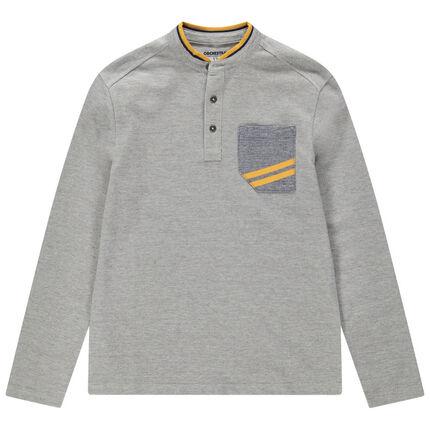 Junior - Polo manches longues chiné à col mao et poche