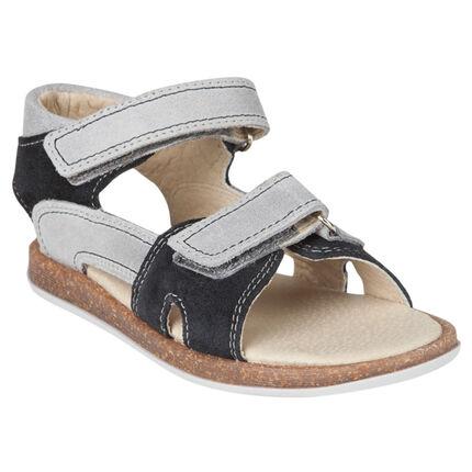 Nu-pieds en cuir bicolores à scratchs