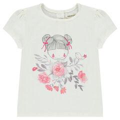 Tee-shirt manches courtes avec poupée printée