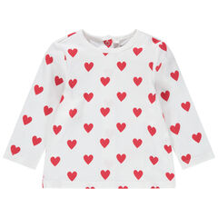T-shirt manches longues imprimé coeurs