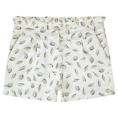 Junior - Short en coton natté avec plumes dorés imprimées all-over