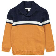 Pull en tricot bicolore à col châle