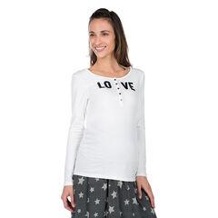 Tee-shirt manches longues de grossesse et d'allaitement avec col pressionné