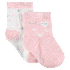 Lot de 2 paires de chaussettes assorties avec coeurs et yeux en jacquard