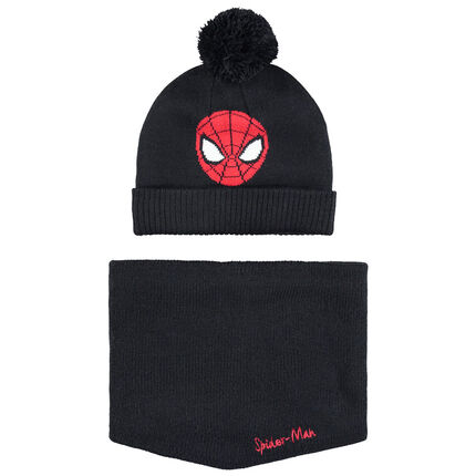 Ensemble bonnet et snood en tricot doublés sherpa motif Spiderman