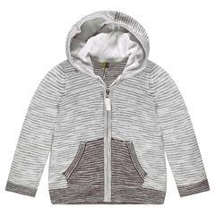 Gilet en tricot rayé avec zèbre printé au dos