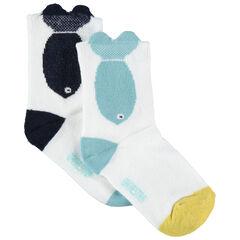 Lot de 2 paires de chaussettes assorties motif poisson en jacquard