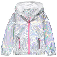 Junior - Coupe-vent iridescent à capuche et poches zippées