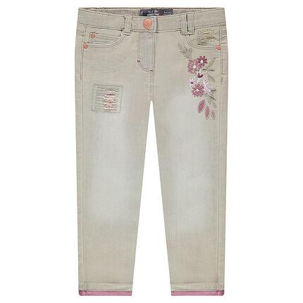 Jeans slim 7/8ème en denim bicolore avec fleurs brodées et usures