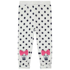 Legging chiné à pois all-over et prints Minnie Disney