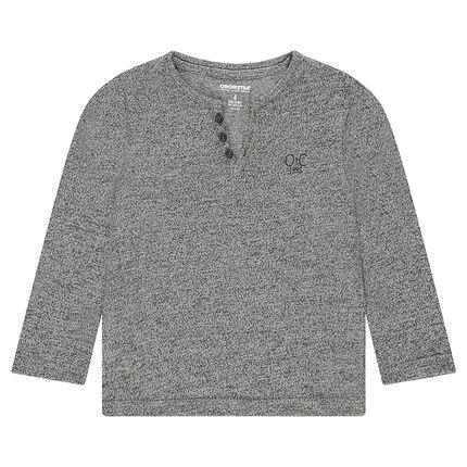 Tee-shirt manches longues en maille twistée avec logo brodé