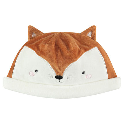 Bonnet en velours forme tête de renard