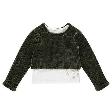Pull 2 en 1 en maille chenille et jersey avec motif printé