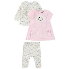 Ensemble avec tee-shirt manches longues, robe rose et legging imprimés ©Smiley