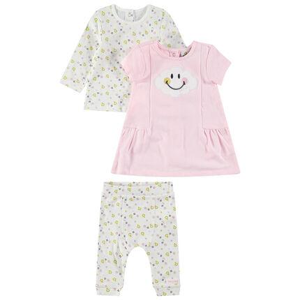 Ensemble avec tee-shirt manches longues, robe rose et legging imprimés Smiley